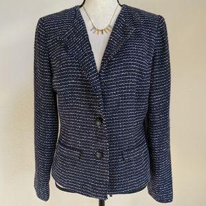 Danny & Nicole navy tweed boucle blazer jacket 8